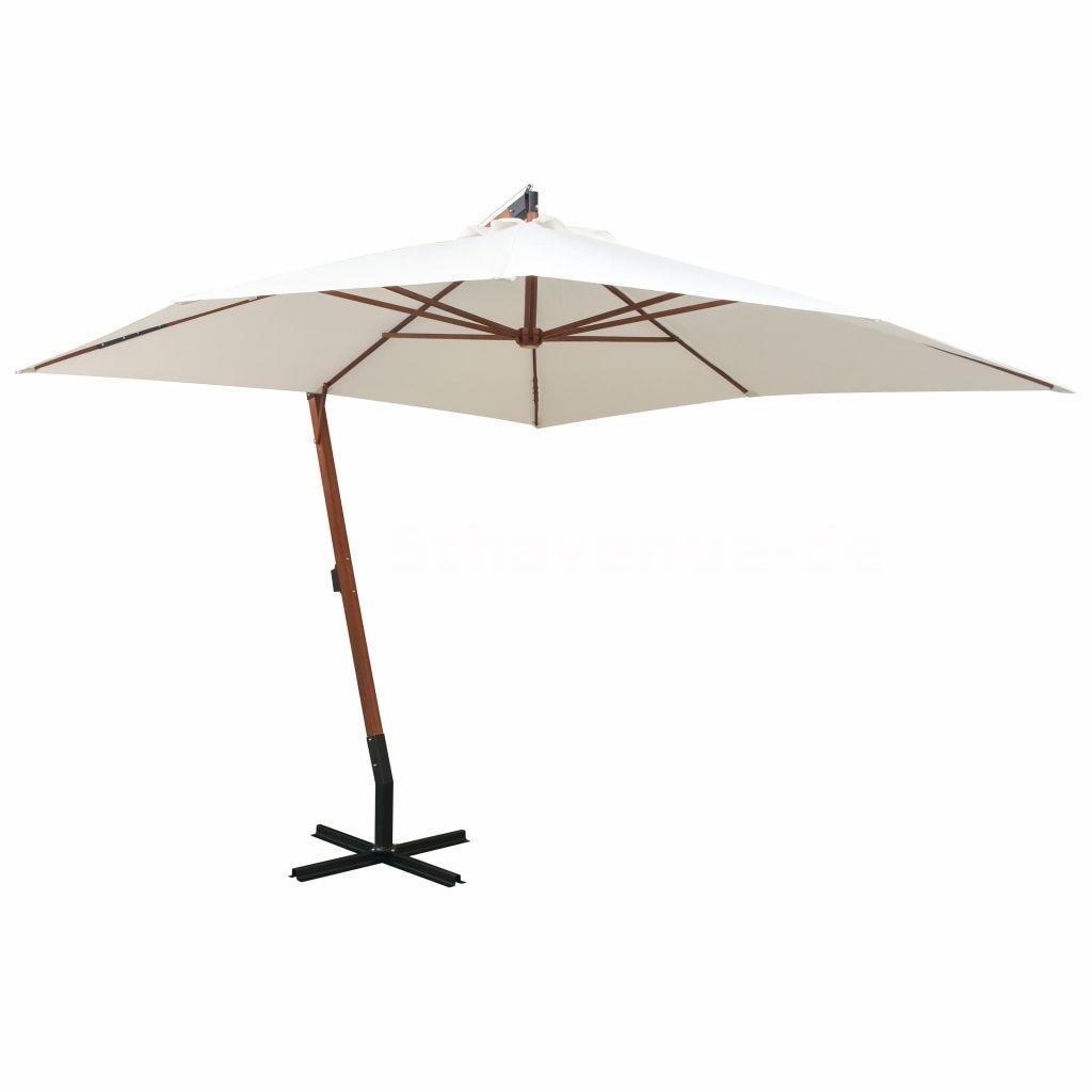 Garten Sonnenschirm Ampelschirm 300 X 300 Cm Holzmast Weiss O5e4 Ebay